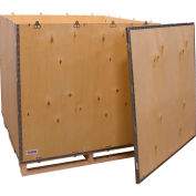"Global Industrial™ 6-Panel Shipping Crate with Lid & Pallet, 48"" x 48"" x 48"" O.D."