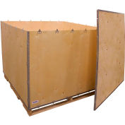 """Global Industrial™ 6-Panel Shipping Crate with Lid & Pallet, 60"""" x 60"""" x 48"""" O.D."""