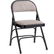 Steel with Fabric Padded Seat Folding Chair - Black/Gray