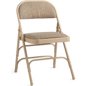 Steel with Fabric Padded Seat Folding Chair - Neutral/Beige