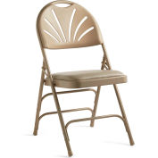 Samsonite 3000 Series Steel Fanback Padded Folding Chair Neutral/Beige