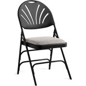 Xl Series Steel Fanback Padded Folding Chair, Fabric Padded Seat & Fanback - Black/Black