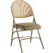 Xl Series Steel Fanback Padded Folding Chair, Fabric Padded Seat & Fanback - Neutral/Beige