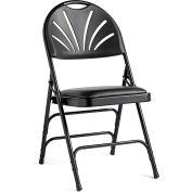 3000 Series Steel Fanback Padded Folding Chair, Leather & Memory Foam Padding - Black/Black