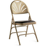 3000 Series Steel Fanback Padded Folding Chair, Leather & Memory Foam Padding - Neutral/Chocolate