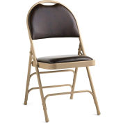 Comfort Series Steel Fanback Padded Folding Chair, Leather & Memory Foam Padding - Neutral/Chocolate