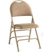 Comfort Series Steel Fanback Padded Fabric Folding Chair - Neutral/Beige