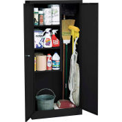 "Sandusky Value Line Janitorial Supply Cabinet EFC1362472-09 - 36""W x 24""D x 72""H Black"