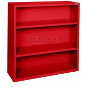 "Steel Bookcase 3 Shelves 34-1/2""W x 13""D x 42""H-Red"