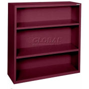 "Steel Bookcase 3 Shelves 34-1/2""W x 13""D x 42""H-Burgundy"