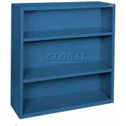 """Steel Bookcase 3 Shelves 34-1/2""""W x 13""""D x 42""""H Blue"""