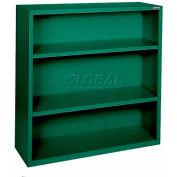 "Steel Bookcase 3 Shelves 34-1/2""W x 13""D x 42""H-Forrest Green"