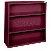 "Steel Bookcase 2-Shelf 46W X 18""D X 42""H-Burgundy"