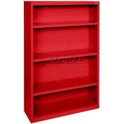 """Steel Bookcase 3-Shelf 36""""W X 18""""D X 52""""H-Red"""