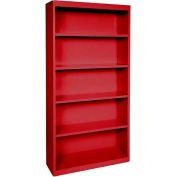 """Steel Bookcase 4 Shelves 34-1/2""""W x 13""""D x 72""""H-Red"""