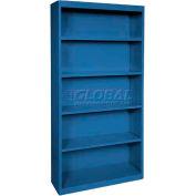"""Steel Bookcase 4 Shelves 34-1/2""""W x 13""""D x 72""""H-Blue"""