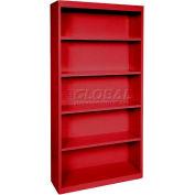 """Steel Bookcase 4-Shelf 36""""W X 18""""D X 72""""H-Red"""