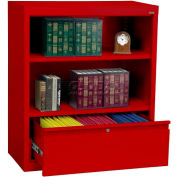 """Steel Bookcase With File Drawer 1-Shelf 36""""W X 18""""D X 42""""H-Red"""