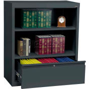 "Steel Bookcase With File Drawer 1-Shelf 36""W X 18""D X 42""H-Charcoal"
