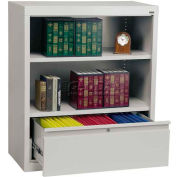 "Steel Bookcase With File Drawer 1-Shelf 36""W X 18""D X 42""H-Dove Gray"