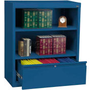 "Steel Bookcase With File Drawer 1-Shelf 36""W X 18""D X 42""H-Blue"