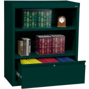 "Steel Bookcase With File Drawer 1-Shelf 36""W X 18""D X 42""H-Forrest Green"