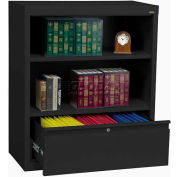 """Steel Bookcase With File Drawer 1-Shelf 36""""W X 18""""D X 42""""H-Black"""