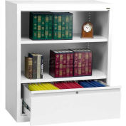 "Steel Bookcase With File Drawer 1-Shelf 36""W X 18""D X 42""H-White"