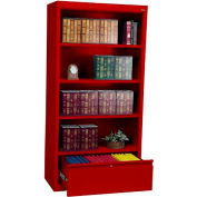 "Steel Bookcase With File Drawer 3-Shelf 36""W X 18""D X 72""H-Red"
