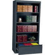"Steel Bookcase With File Drawer 3-Shelf 36""W X 18""D X 72""H-Charcoal"