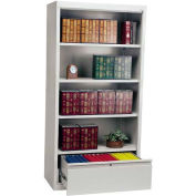"Steel Bookcase With File Drawer 3-Shelf 36""W X 18""D X 72""H-Dove Gray"