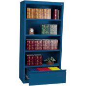 """Steel Bookcase With File Drawer 3-Shelf 36""""W X 18""""D X 72""""H-Blue"""