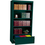 "Steel Bookcase With File Drawer 3-Shelf 36""W X 18""D X 72""H-Forrest Green"