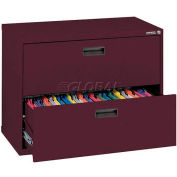 "Lateral File, 2-Drawer, 30W"" x 18D"" x 26-5/8H"", Burgundy"