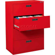 "Lateral File, 4-Drawer, 30W"" x 18D"" x 50-5/8H"", Red"