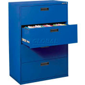 """Lateral File, 4-Drawer, 30W"""" x 18D"""" x 50-5/8H"""", Blue"""