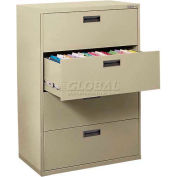 "Lateral File, 4-Drawer, 30W"" x 18D"" x 50-5/8H"", Putty"