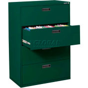 "Lateral File, 4-Drawer, 30W"" x 18D"" x 50-5/8H"", Forest Green"