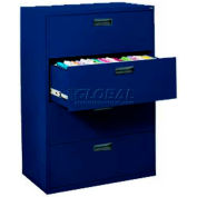 """Lateral File, 4-Drawer, 30W"""" x 18D"""" x 50-5/8H"""", Navy"""