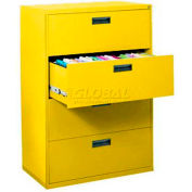 "Lateral File, 4-Drawer, 30W"" x 18D"" x 50-5/8H"", Yellow"