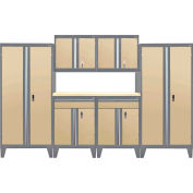 Sandusky® - 7 Pc. Modular Set Charcoal Frame/Sand Doors - GS07 - 042L