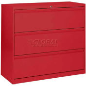 "Lateral File, 3-Drawer, 36W"" x 19-1/4D"" x 40-7/8H"", Red"
