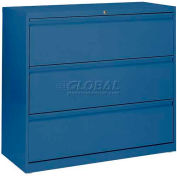 "Lateral File, 3-Drawer, 36W"" x 19-1/4D"" x 40-7/8H"", Blue"