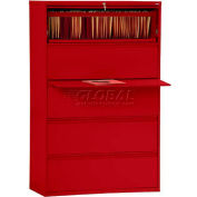 "Lateral File, 5-Drawer, 36W"" x 19-1/4D"" x 66-3/8H"", Red"