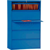 """Lateral File, 5-Drawer, 36W"""" x 19-1/4D"""" x 66-3/8H"""", Blue"""