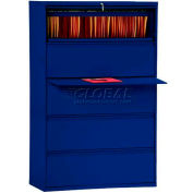 """Lateral File, 5-Drawer, 36W"""" x 19-1/4D"""" x 66-3/8H"""", Navy"""