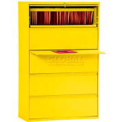 "Lateral File, 5-Drawer, 36W"" x 19-1/4D"" x 66-3/8H"", Yellow"