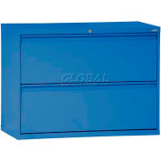 """Lateral File, 2-Drawer, 42W"""" x 19-1/4D"""" x 28-3/8H"""", Blue"""