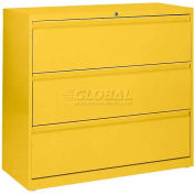"Lateral File, 3-Drawer, 42W"" x 19-1/4D"" x 40-7/8H"", Yellow"