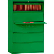 "Lateral File, 5-Drawer, 42W"" x 19-1/4D"" x 66-3/8H"", Standard Green"